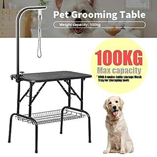 Generic justabl Foldable Steel el Adjusta Table Portable dable Steel Pet Dog Cat abl Adjustable Arm Black rooming Trimmi Grooming Trimming