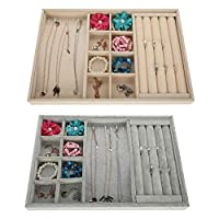 Rings Display Tray, Velvet Multi-Slot Box, Pendant Necklace Bracelet Ring Jewelry Organizer Display Storage Box - 2 colors
