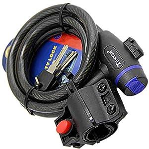 51str2vZZ3L. SS300 Lucchetto a catena per bicicletta - Blocco cavo portatile per bicicletta avvolgente con chiavi e staffa di montaggio per…