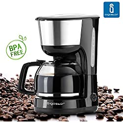 Aigostar Basic Black 30HIK - Macchina per Caffé, caffettiera, color nero, 1000 watts, capacità 1,25 litri. BPA Assente.