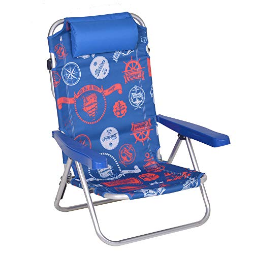 Enrico coveri spiaggina sdraio pieghevole e reclinabile in 5 posizioni, struttura in acciaio, perfetta per giardino, mare e campeggio (blu/rosso)