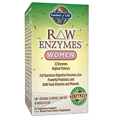 Garden of Life Vegetarian Digestive Supplement for Women - Raw Enzymes Women for Digestion, Bloating, Gas, and IBS, 90 Capsules by Garden of Life