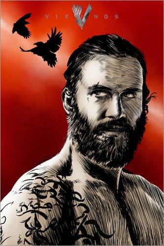 Póster 40 x 60 cm: Rollo Vikings Red Crow de Paola Morpheus - impresión artística, Nuevo póster artístico