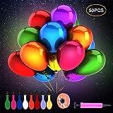 Herefun 50 Stücke LED Leuchtende Bunte Luftballons Sortierte Farben Party Ballons für Hochzeit Party, Geburtstag, Festival, Weihnachten Dekoration mit Ballonpumpe und Farbiges Band