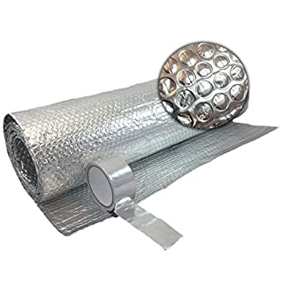 Free Tape 1.2m X 5M Double FOIL Insulation Aluminium Bubble LOFT Caravan Wall