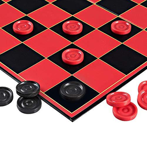 Point Games 2307 Checkers Game mit Super Durable Board-Indoor/Outdoor Fun Brettspiel für alle Altersgruppen, rot schwarz (Checkers Board Spiel)