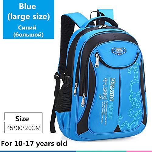 Schultasche für Kinderrucksack-Tasche Kinderschulsack Teen Junge Mädchen Hohe Kapazität wasserdichte Ausrüstung Kinderschultüte Mochila Big Blue