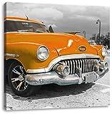 Oranger Kult Oldtimer in Havanna Kuba, Format: 60x60 auf Leinwand, XXL riesige Bilder fertig gerahmt mit Keilrahmen, Kunstdruck auf Wandbild mit Rahmen, günstiger als Gemälde oder Ölbild, kein Poster oder Plakat