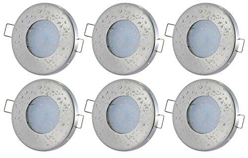 6er Set Bad Einbaustrahler Aqua IP65 5Watt LED TÜV GS Geprüft 400Lumen 3000Kelvin Warmweiss 230Volt GU10 120Grad Abstrahlwinkel Badezimmer Dusche Einbauleuchte