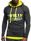 LEIF NELSON Gym Herren Fitness Sweatshirt mit Kapuze Hoodie Langarm Trainingsshirt T-Shirt Training LN06278; Größe S, Anthrazit-Gelb
