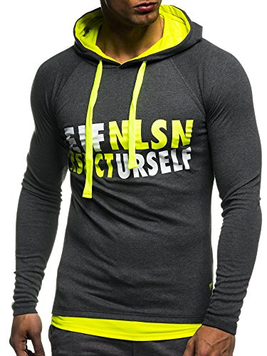 LEIF NELSON Gym Herren Fitness Sweatshirt mit Kapuze Hoodie Langarm Trainingsshirt T-Shirt Training LN06278; Größe L, Anthrazit-Gelb (Shirt Langarm Training)