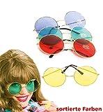 Hippie-Brille, groß, rund. Diverse Farben bestellbar, für Karneval, Fasching, Disco (gelb)