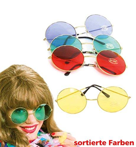 Hippie-Brille, groß, rund. Diverse Farben bestellbar, für Karneval, Fasching, Disco (grün)