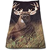 Trophy Buck Deer with Big Rack Microfiber Travel & Sports Towel, Ultra Compact, Lightweight, Absorbent and Fast Drying Towels, Ideal for Gym, Beach, Travel Fitness, Exercise, Yoga