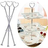3 Set silbern Herz Metallstange Mittellochausstech bis 3 Etage fuer Hochzeitstorte Etagere Tortenstaender Tortenhalter Torten #60