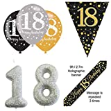 EPF Party-Dekorationsset zum 18. Geburtstag, schwarz-goldenes Banner, 6 Schwarze und Goldfarbene Latexballons, 18 Jahre alte Wimpelkette, Silberne Kuchenkerze zum 18. Geburtstag, Partyzubehör