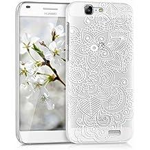 kwmobile Funda para Huawei Ascend G7 - Case de cristal plástico para móvil - Cover trasero Diseño étnico en blanco transparente