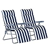 Outsunny Lot de 2 Chaise Longue Bain de Soleil Adjustable Pliable transat lit de...