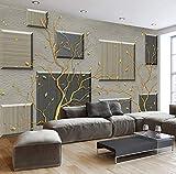 Hlonl Benutzerdefinierte 3D Wallpaper Murals Moderne Einfache Abstrakte Äste 3D Wohnzimmer Sofa Tv Hintergrund Wandmalerei Wandhauptdekor-150X120CM