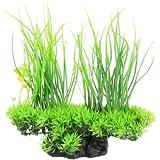 sourcingmap a12052100ux0662 Artificial Water Aquarium Grass Long Leaf Plant Landscape Decor - Green/Yellow