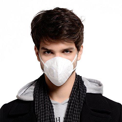 Wiederverwendbare Staub Atmungsaktive waschbar Anti-Formaldehyd, Rauch Atemschutzmasken, mit verstellbaren elastischen Gurtel, elektrostatische Baumwolle Material, mit Atemventil(Weib)