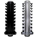 POWRX Kurzhantel Rack Professional Hantelständer rund/Hantelablage / 20 Ablagen/Spitzen Qualität Hantel/Verschiedene Farbvarianten (Schwarz)