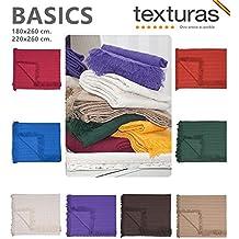 TEXTURAS BASICS - Colcha Multiusos Lisa CAMA Y SOFÁ Económica (230_x_260_cm, Crudo)