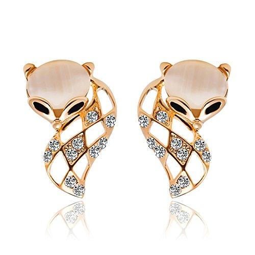 ein paar Damen Mädchen Ohrringe , elegant Fuchs Ohrhänger Ohrstecker mit imitation Katzaugen Stein Strass, silber gold
