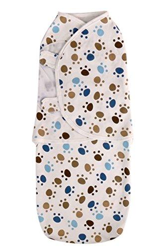Happy Cherry Baby Sommer Swaddle Säugling Unisex Schlafsack Ganzkörper Baumwolle Süß Musterdruck (Fußabdruck) Infant Swaddle Baby Decke Für Schlaf Geeigenet für 0-6 Monate