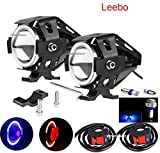 #8: Leebo U7 Led Super Bright With BLUE RED Ring Strip Color Light Fog Lamp, Spot Beam, Low Beam High Beam & Strobe Function Angel Light (Devil eyes color :Red) Set of 2 for Yamaha FZ 1 Free (2 Fog Lamp Switch & 1 Pair 5 smd Parking Led Blue )