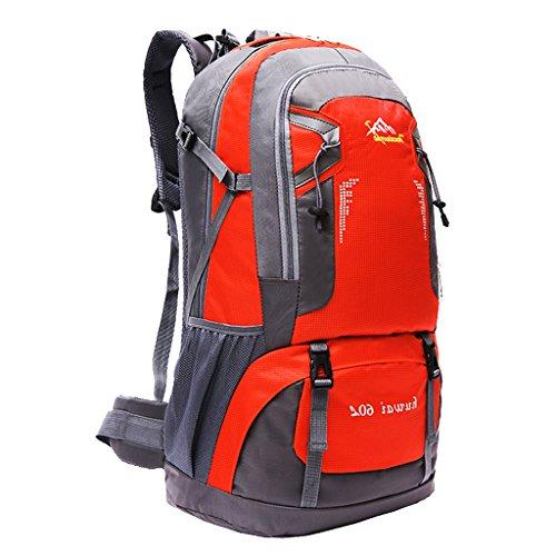 Impermeabile Borsa Zaino Esterno Dello Zaino Di Corsa Di Sport Trekking Escursionismo, 60L - Arancione Arancione