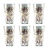 6er Set Latte Macchiato Glas 39cl stapelbar Coffee Dekor