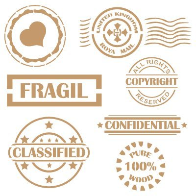 Stencil Deco Vintage Composición 072 Sello Fragil Confidential Classified. Medidas aproximadas:Tamaño del stencil 20x20(cm) Sello corazón 5.7 x 5.7(cm) Sello 'Fragil' 8.7 x 2.9(cm) Sello 'CLASSIFIED' 7.5 x 6.6(cm)