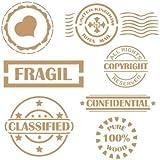 "Stencil Deco Vintage Composición 072 Sello Fragil Confidential Classified. Medidas aproximadas:Tamaño del stencil 20x20(cm) Sello corazón 5.7 x 5.7(cm) Sello ""Fragil"" 8.7 x 2.9(cm) Sello ""CLASSIFIED"" 7.5 x 6.6(cm)"