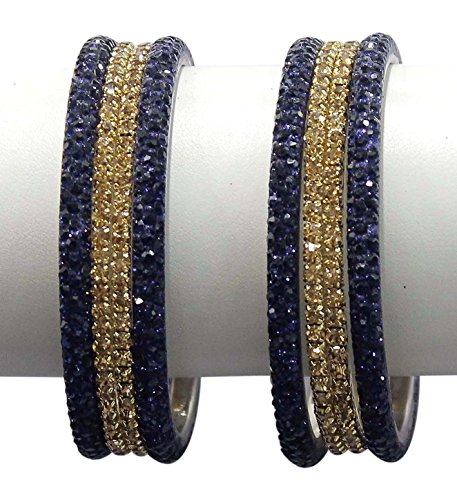 MUCH MORE Set of 8 Bangles With Kada Women (Montana Blue) (2.6)