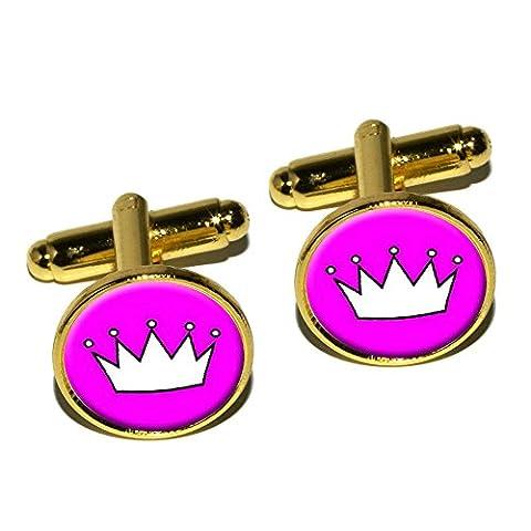 Prinzessin Krone Tiara rund Manschettenknopf Set–Gold (Prinzessin Set Manschettenknöpfe)