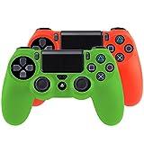Bundle - 2x Silicone Case Custodia Protettiva per Playstation 4 / PS4 Dualshock 4 Controller Joystick soft touch - verde + rosso