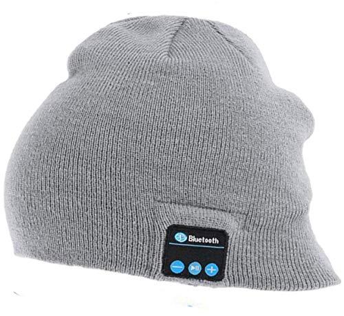 Preisvergleich Produktbild Shuua Wireless Bluetooth Beanie Mütze Kopfhörer - Unisex Wintermusik Strickmütze mit Stereo-Lautsprecher und Mikrofon Perfekt warm für Outdoor-Sportarten Männer Frauen (Grau)