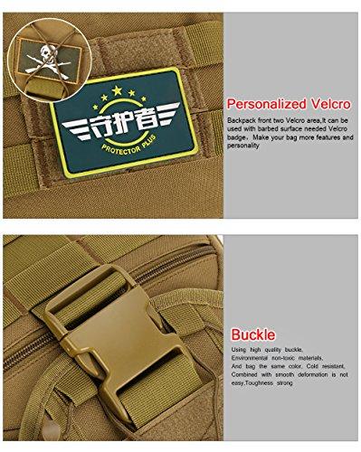 Wanderrucksack, Fozela Wasserdichter 40L Kampfrucksack Taktischer Rucksack Trekkingrucksack sportrucksack für Camping Wandern Reisen Brown