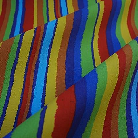 Multi Coloured Stripe Printed Canvas Fabric (Per Metre)