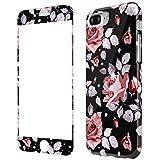 Coque iPhone 8 Plus Fleurs Silicone, Wafly Coque iPhone 7 Plus 360 Degres +...