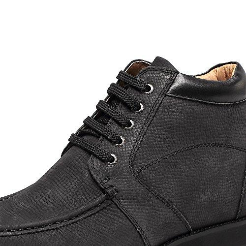 Chamaripa Desert Boots Da Uomo In Camoscio Scarpe Stringate - Aumento 9 Cm - Nero E Marrone - Nero V1931