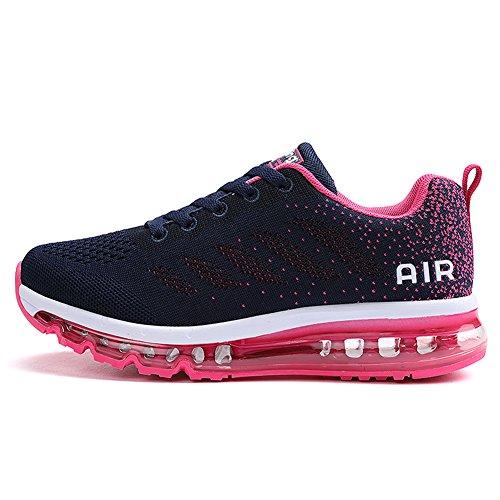 Fexkean Unisex Herren Damen Sneakers Sportschuhe Bequeme Laufschuhe Schnürer Air Running Shoes 35-45(Pink40)
