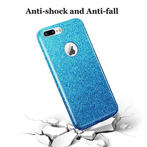 iphone 7 plus case, Hanlesi lucida copertura [bling chiarissimo] [slim fit] 3 strato ibrido con brio premio trasparente tpu custodia per apple iphone 7 Plus 5,5 Inch Blu