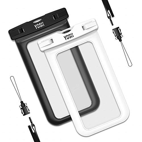 Preisvergleich Produktbild wasserdichte Handyhülle Tasche Beutel (2 Stück) YOSH Schnorcheln Tauchen Schwimmen Kanu Beachbag Unterwasser für IPhone X 8 7 6 6s Plus Samsung S8 S7 S6 A7 A5 LUMIA Huawei Xiaomi Aquaris, bis zu 6 Zoll (schwarz&weiß)