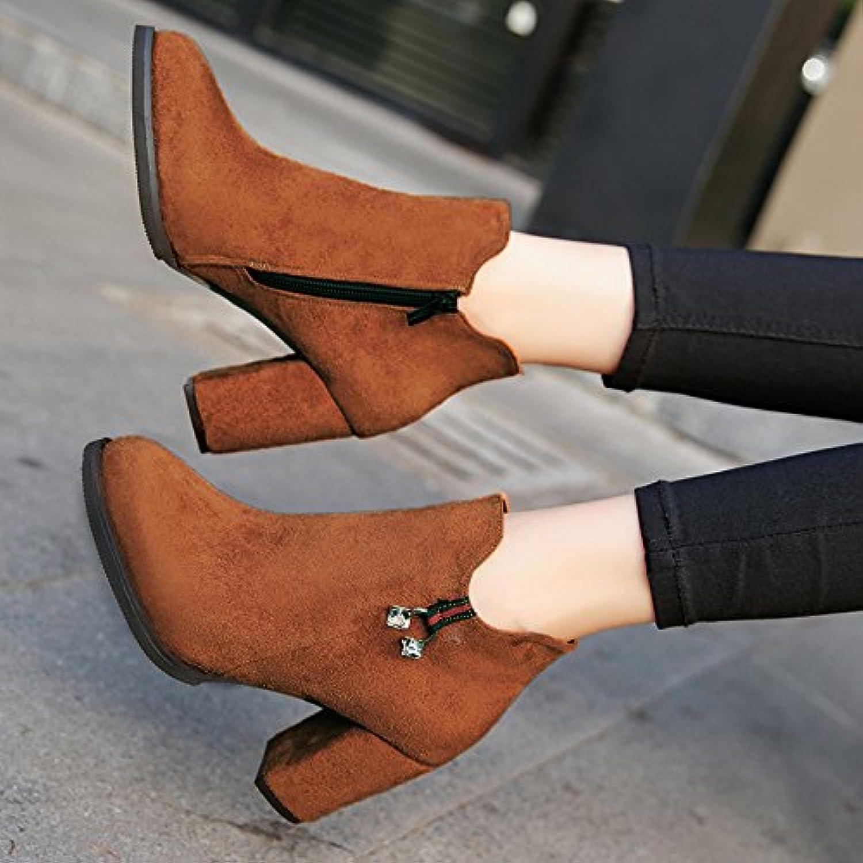 KHSKX-Talón Talón Zapatos De Tacon Alto De Mujer Martin Botas Bota Corta Version Coreana De La Primavera Otoño...