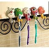 Sostenedor de cepillo de dientes de los niños con la taza de la succión para el sistema montado en la pared del cuarto de baño 5 (animales 5PCs)
