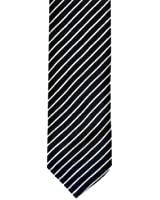 Skinny Tie Navy and White Neat Diagonal Stripe (Tie55)- Men's Navy with Neat White Diagonal Stripe