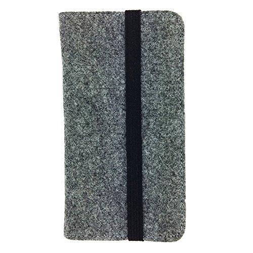 handy-point Universell Organizer für Smartphone Tasche aus Filz Filztasche Filzhülle Hülle Schutzhülle mit Kartenfach für Samsung, iPhone, Huawei (5,3-5,5 Zoll max 16,5 x 8,3cm, Grau)