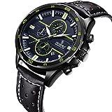 Uhren,Herren Uhren,Armbanduhr für MensLässig Classic Edelstahl Fall Einzigartige Quarz Analog Business Uhr (Green Black)